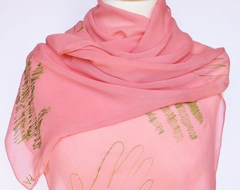 Pink silk scarf,Silk scarf hand painted,Long silk scarf,Unique silk scarf,Handpainted silk scarf,Handmade silk scarf,Summer silk scarf