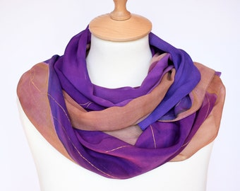 Hand painted scarf,Silk scarf,Hand painted silk,Purple silk scarf,Silk chiffon scarf,Handpainted scarf,Pure silk,silk scarf,AnaSilkDesign