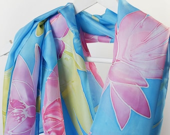 Floral silk scarf,Silk scarf,Hand made silk scarf, Hand painted silk, Hand dyed silk, Unique scarf Unique gift Blue and pink scarf Scarves