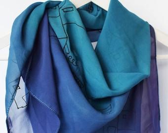 Large silk square scarf,Square silk scarf,Handpainted silk scarf,Blue and purple scarf,Purple silk scarf,Handmade silk scarf,Scarf hand dyed