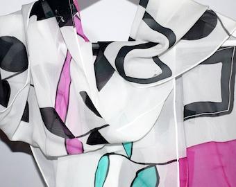 Chiffon silk scarf,Handpainted silk scarf,Hand painted scarf,Made to order scarf,Black and white silk scarf,AnaSilkDesign