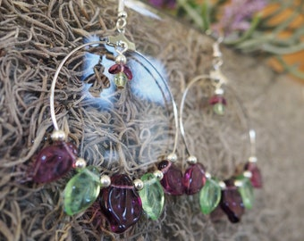 Purple Petals Hoop Earrings