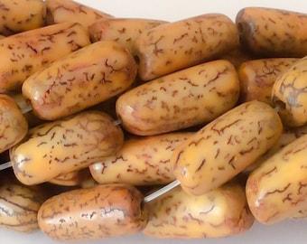"Yellow Betel Nut Beads Salwag tube 16"" strand"