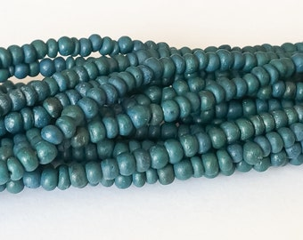 """Small 2-3mm Coconut Beads, Natural Wood Beads, Coco Pukalet Teal 16"""" strand"""