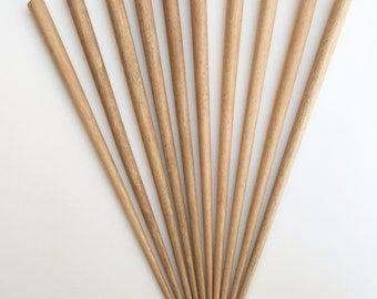 """Wood Hair Sticks Hambaba Round With Flat Top 7 1/2"""" 10 pcs. per package"""