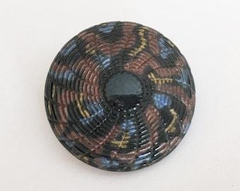 Imitation fabric vintage glass button