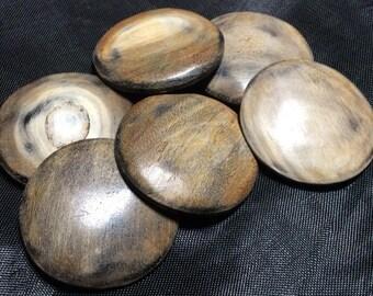 6 burnt horn buttons  26mm round