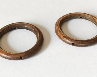 Horn Beads, Horn Ring Beads, Horn Donuts, 28mm Drilled Thru Rings, Burnt Horn Ring Beads-2pc