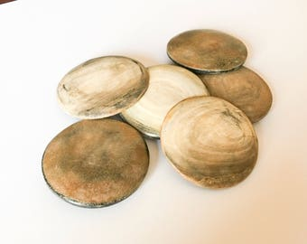 2 large burnt horn round buttons 40mm