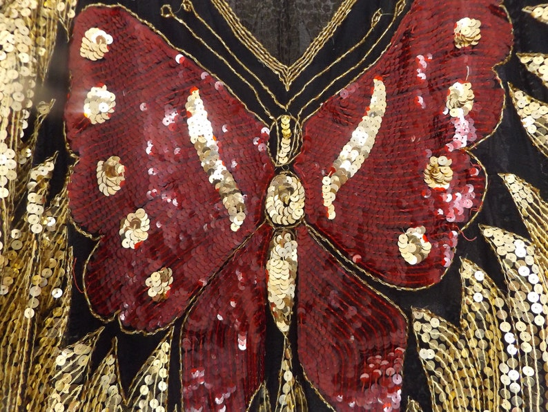 Shimmer Shine and Soar in 100/% Pure Silk Butterfly Sequined Top~Dazzle as you Come and Dazzle as you Go