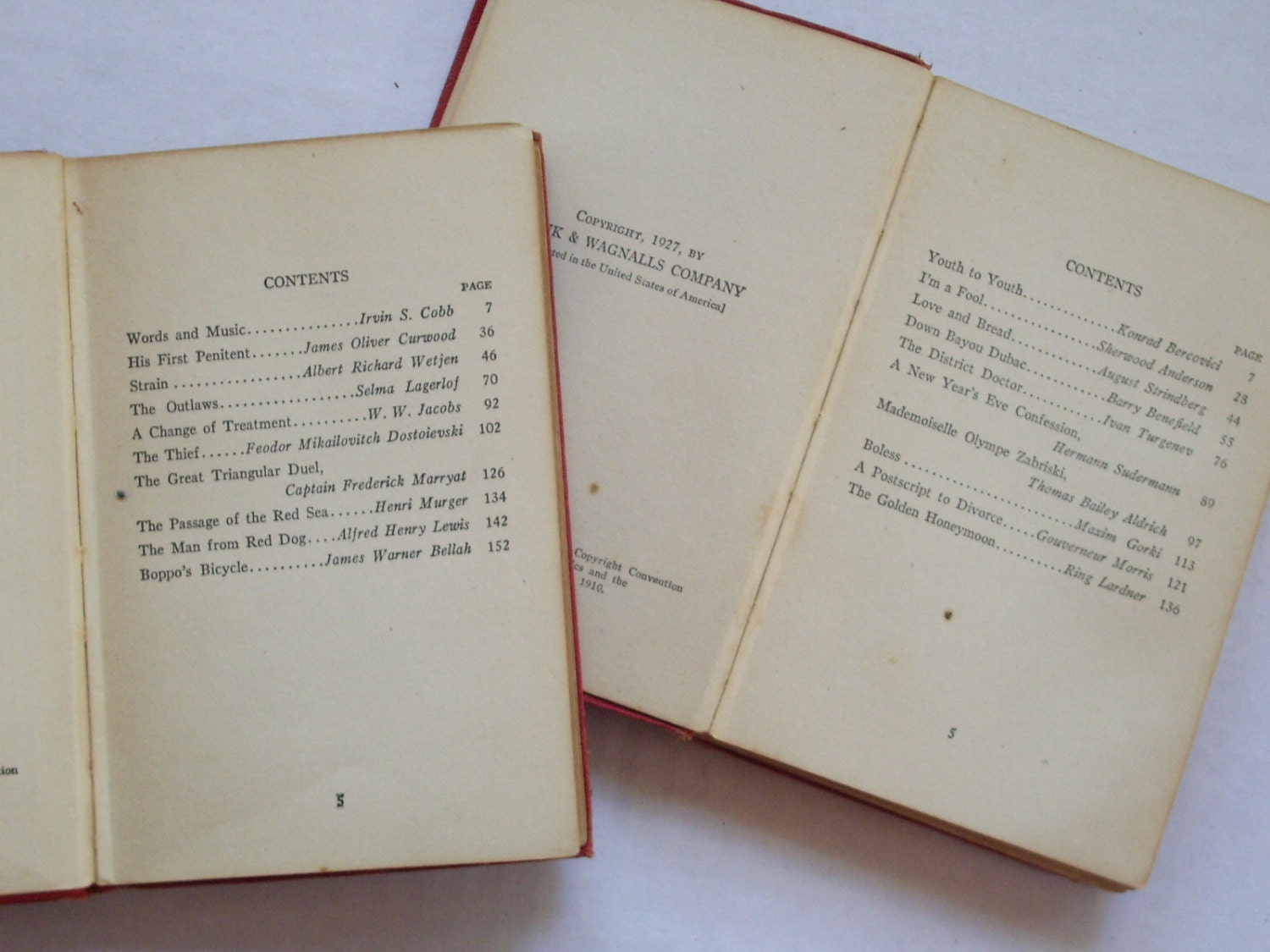 The World's One Hundred Best Short Stories, Volume Four and Volume Eight,  1927