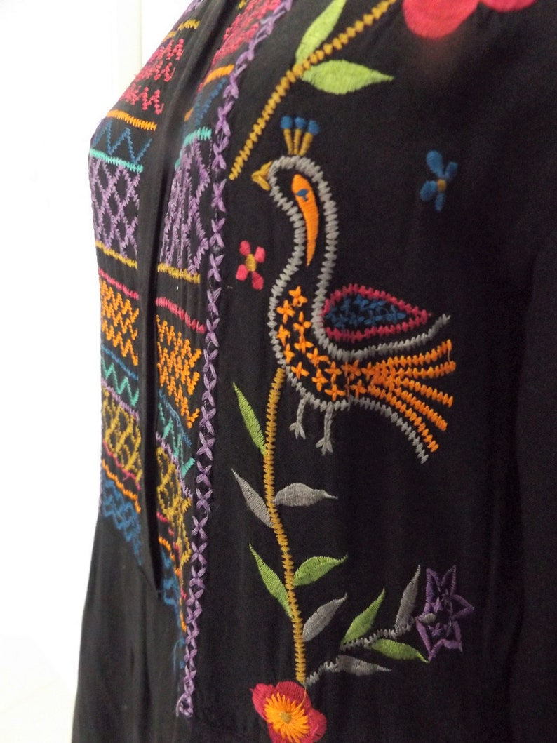 Vintage 70s Passport of Pier 1 Imports~Vibrantly Embroidered Bodice Black Shirt-Maker Style Dress
