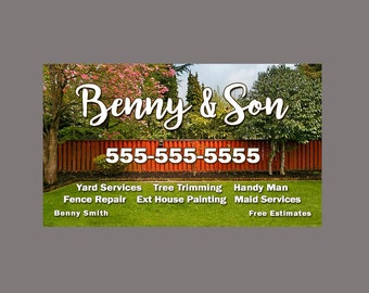 Landscaping business etsy lawn service business card lawn and landscaping business card gardening gardener lawnmower tree trimming handy man painting repairs reheart Gallery