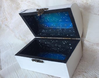Galaxy box,Star constellation box/ Galaxy box, jewelry galaxy box, wooden jewelry box, blue galaxy jewelry box , white keepsake ,stars box