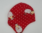 Earflap hats fully lined in matching fleece. Very soft and warm! *Ready to ship* Size 3-6 months sheep