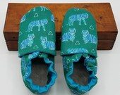 Custom classroom shoes, soft soled slippers, made to order slippers. Montessori or Waldorf shoes. Teal green Tigers