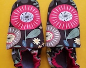 Custom classroom shoes, soft soled slippers, made to order slippers. Montessori or Waldorf shoes. Made to order. Flowers on dark brown