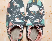 Custom classroom shoes, soft soled slippers, made to order slippers. Montessori or Waldorf shoes. Made to order. Unicorn Unicorns