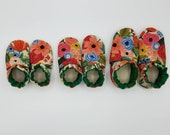 Custom classroom shoes, soft soled slippers, made to order slippers. Montessori or Waldorf shoes. Made to order. Flowers floral blossoms