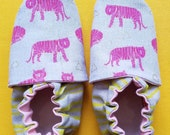 Custom classroom shoes, soft soled slippers, made to order slippers. Montessori or Waldorf shoes. Made to order. Pink tigers