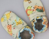Custom classroom shoes, soft soled slippers, made to order slippers. Montessori or Waldorf shoes. Made to order. Birds. Vintage style birds