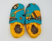Custom classroom shoes, soft soled slippers, made to order slippers. Montessori or Waldorf shoes. Made to order. Construction vehicles