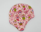 Earflap hats fully lined in matching fleece. Very soft and warm! *Ready to ship* Size 6-12 months pink robots