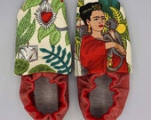 Custom classroom shoes, soft soled slippers, made to order slippers. Montessori or Waldorf shoes. Made to order. Frida Kahlo