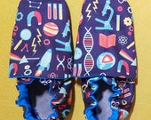 Custom classroom shoes, soft soled slippers, made to order slippers. Montessori or Waldorf shoes. Made to order. Science
