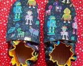 Custom classroom shoes, soft soled slippers, made to order slippers. Montessori or Waldorf shoes. Made to order. Robots space dogs