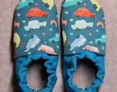 Custom classroom shoes, soft soled slippers, made to order slippers. Montessori or Waldorf shoes. Made to order. Cars and rainbows