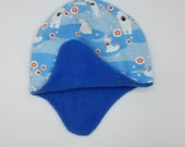 Earflap hats fully lined in matching fleece. Very soft and warm! *Ready to ship* polar bears foxes arctic