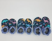 Custom classroom shoes, soft soled slippers, made to order slippers. Montessori or Waldorf shoes. Made to order. Dinosaurs