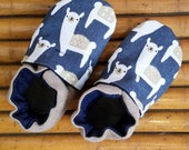 Custom classroom shoes, soft soled slippers, made to order slippers. Montessori or Waldorf shoes. Llama Alpaca