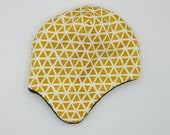 Earflap hats fully lined in matching fleece. Very soft and warm! *Ready to ship* mustard yellow pattern