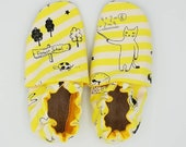 Custom classroom shoes, soft soled slippers, made to order slippers. Montessori or Waldorf shoes. Made to order. Funny animals