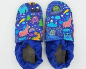 Custom classroom shoes, soft soled slippers, made to order slippers. Montessori or Waldorf shoes. Made to order. Monsters