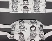 Custom made non medical fabric facemasks for kids, tweens, adults. 2 layers with a filter pocket, and twill tape ties. Ruth Bader Ginsburg.
