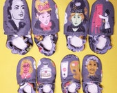 Custom classroom shoes, soft soled slippers, made to order slippers. Women artists. Kahlo, O'Keefe, Woodsey Thomas, Sher-Gil