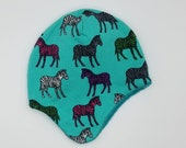 Earflap hats fully lined in matching fleece. Very soft and warm! *Ready to ship* Size 3-6 months pop art zebras