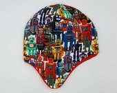 Earflap hats fully lined in matching fleece. Very soft and warm! *Ready to ship* retro toys robots
