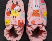 Custom classroom shoes, soft soled slippers, made to order slippers. Montessori or Waldorf shoes. Made to order. Animals in dresses on pink