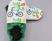 Custom classroom shoes, soft soled slippers, made to order slippers. Montessori or Waldorf shoes. Made to order. Alligators bicycle bird