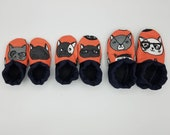 Custom classroom shoes, soft soled slippers, made to order slippers. Montessori or Waldorf shoes. Made to order. Cats glasses