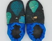 Custom classroom shoes, soft soled slippers, made to order slippers. Montessori or Waldorf shoes. Made to order. Animals in hot air balloons
