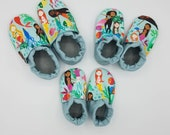 Custom classroom shoes, soft soled slippers, made to order slippers. Montessori or Waldorf shoes. Made to order. Mermaids in water.