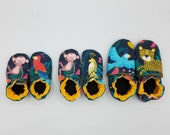 Custom classroom shoes, soft soled slippers, made to order slippers. Montessori or Waldorf shoes. Made to order. Jungle monkeys birds jaguar