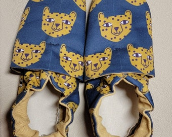 Custom classroom shoes, soft soled slippers, made to order slippers. Montessori or Waldorf shoes. Made to order. Leopard faces.