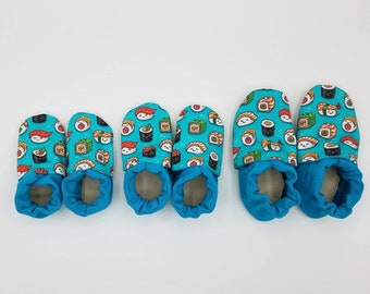 Custom classroom shoes, soft soled slippers, made to order slippers. Montessori or Waldorf shoes. Made to order. Sushi kawaii cute.