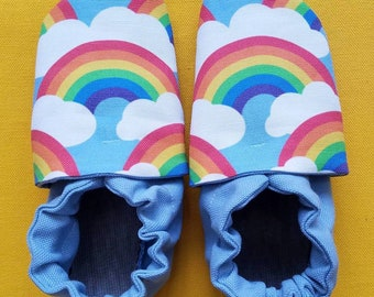 Custom classroom shoes, soft soled slippers, made to order slippers. Montessori or Waldorf shoes. Made to order. Rainbows